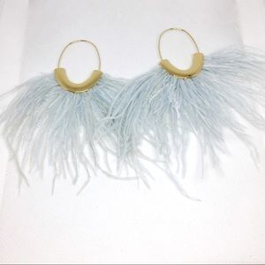 NWT Anthropologie blue feather earrings